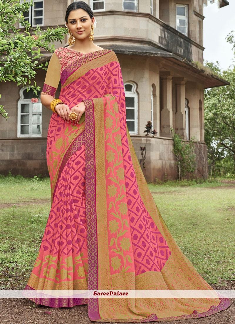Embroidered Pink Designer Saree