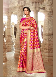 Embroidered Pink Designer Traditional Saree