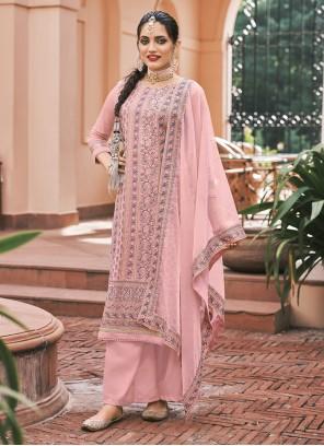 Embroidered Pink Faux Georgette Designer Palazzo Salwar Kameez