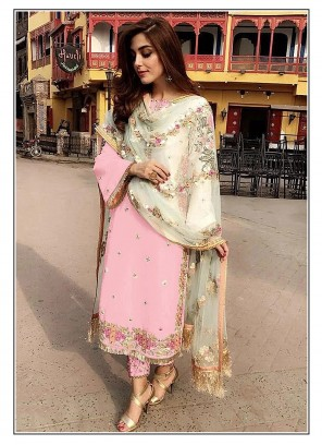 Embroidered Pink Faux Georgette Designer Straight Suit