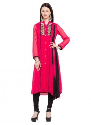 Embroidered Pink Faux Georgette Readymade Salwar Kameez