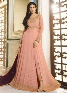 Embroidered Pink Floor Length Anarkali Suit
