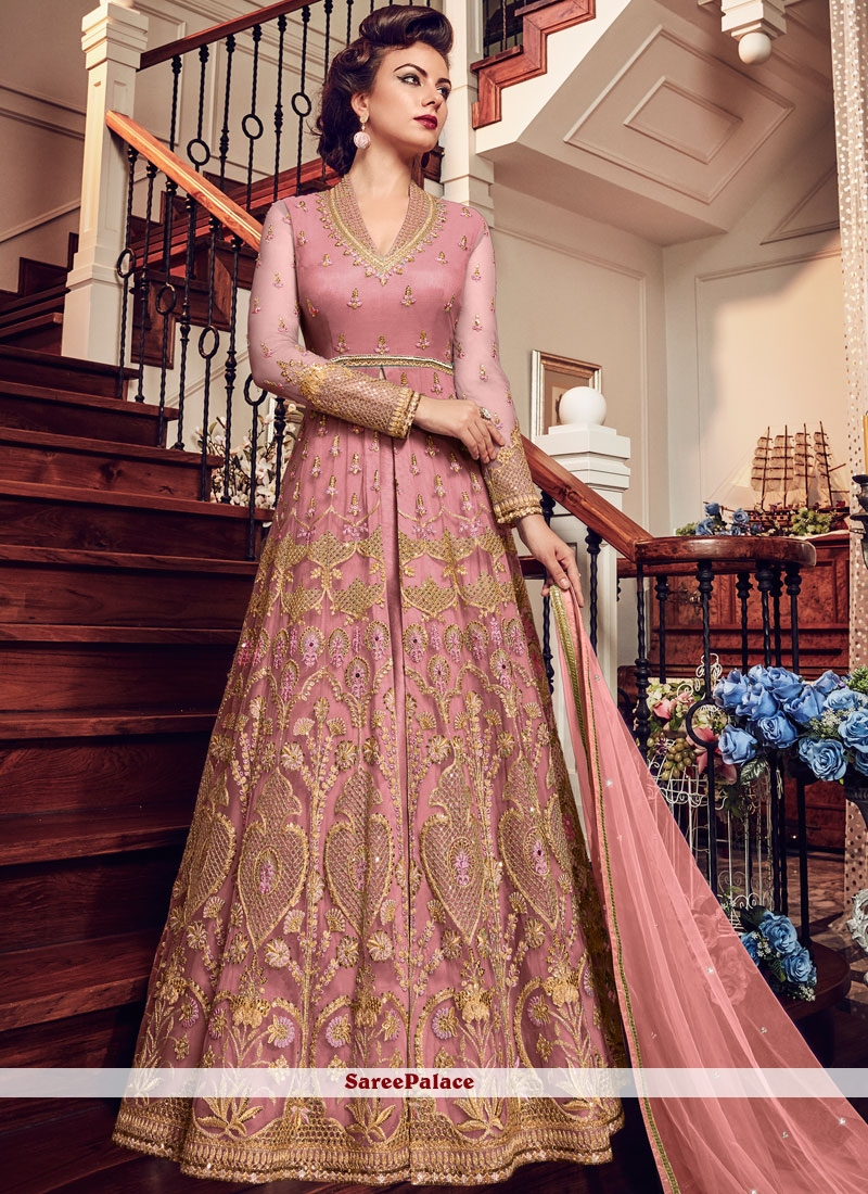 Embroidered Pink Floor Length Anarkali Suit