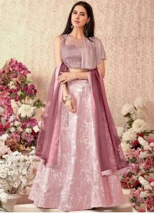 Embroidered Pink Jacquard Silk Designer Lehenga Choli