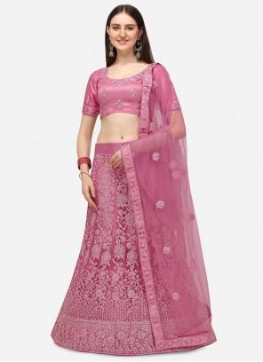 Embroidered Pink Net A Line Lehenga Choli