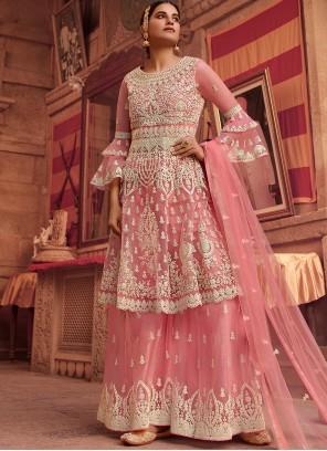 Embroidered Pink Net Designer Pakistani Suit