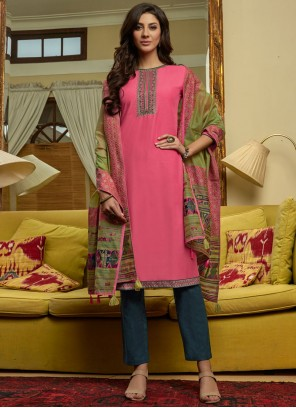 Embroidered Pink Pant Style Suit