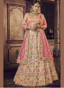 Embroidered Pink Raw Silk Lehenga Choli