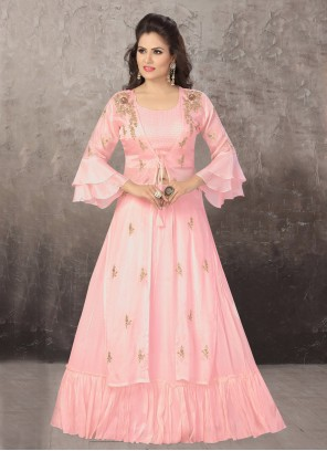 Embroidered Pink Readymade Lehenga Choli