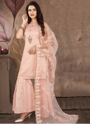 Embroidered Pink Readymade Suit