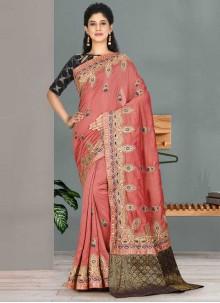 Embroidered Pink Satin Silk Classic Designer Saree