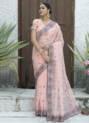 Embroidered Pink Silk Designer Traditional Saree