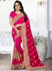 Embroidered Pink Silk Traditional Saree