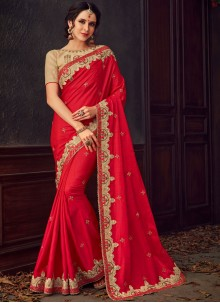 Embroidered Poly Silk Classic Designer Saree in Red