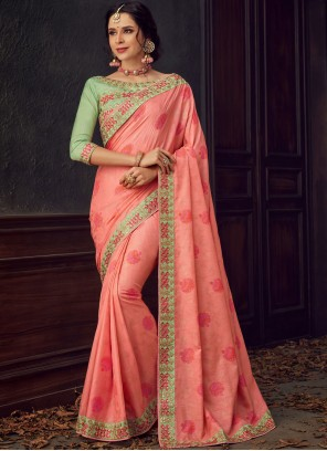 Embroidered Poly Silk Classic Designer Saree in Rose Pink