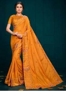Embroidered Poly Silk Classic Saree in Yellow