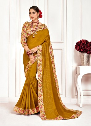 Embroidered Poly Silk Designer Saree in Green