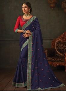 Embroidered Poly Silk Navy Blue Classic Designer Saree