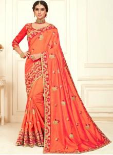 Embroidered Poly Silk Orange Classic Designer Saree