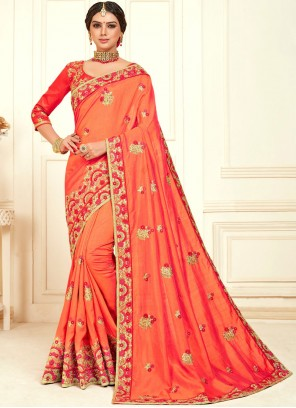Embroidered Poly Silk Orange Classic Designer Saree