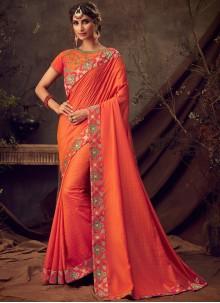 Embroidered Poly Silk Orange Classic Saree