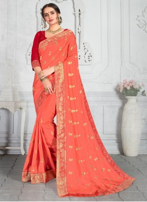 Embroidered Poly Silk Peach Traditional Saree