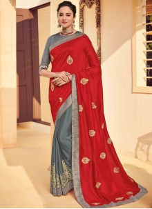 Embroidered Poly Silk Red Classic Saree