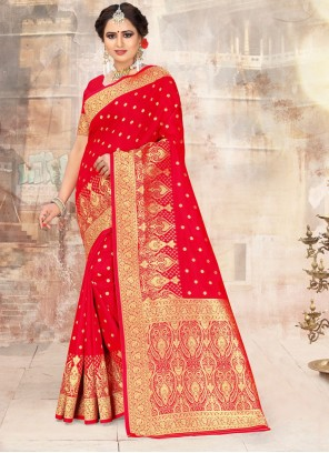 Embroidered Poly Silk Red Traditional Saree