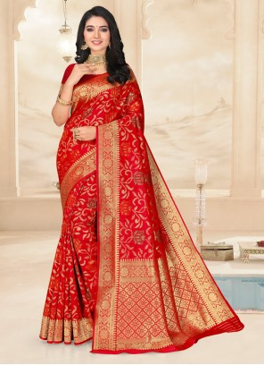 Embroidered Poly Silk Saree in Red