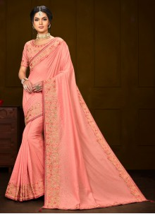 Embroidered Poly Silk Trendy Peach Saree