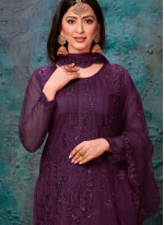 Embroidered Purple Churidar Designer Suit