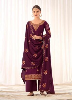 Embroidered Purple Designer Pakistani Salwar Suit