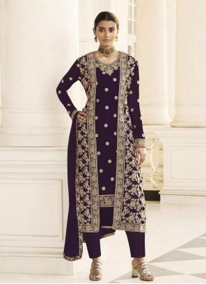 Embroidered Purple Faux Georgette Designer Pakistani Salwar Suit