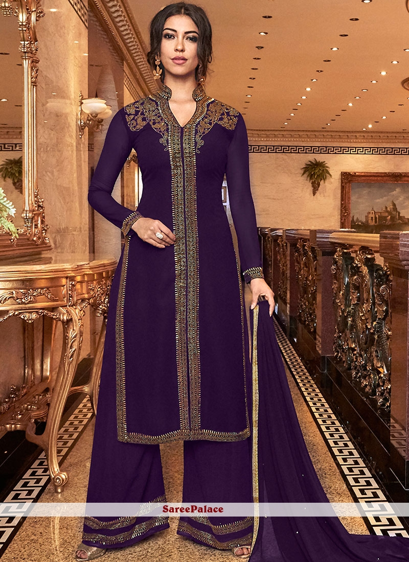 Embroidered Purple Faux Georgette Palazzo Salwar Suit