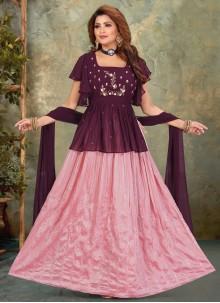 Embroidered Purple Floor Length Anarkali Suit