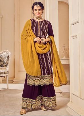 Embroidered Purple Georgette Designer Palazzo Salwar Suit