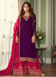 Embroidered Purple Shamita Shetty Designer Palazzo Salwar Suit
