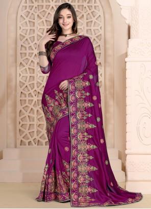 Embroidered Purple Silk Bollywood Saree
