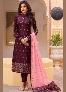 Embroidered Purple Silk Designer Patila Salwar Suit