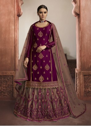 Embroidered Purple Trendy Lehenga Choli