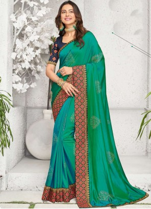 Embroidered Rakul Preet Singh Green Designer Saree