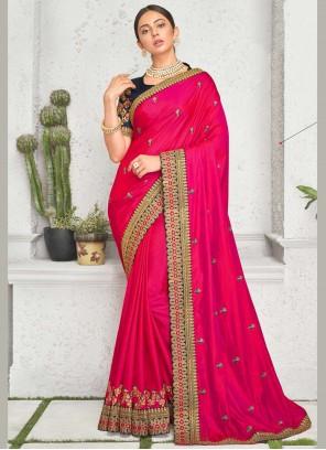 Embroidered Rakul Preet Singh Pink Designer Saree