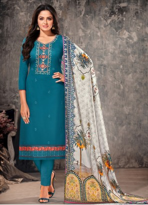 Embroidered Rama Cotton Straight Suit