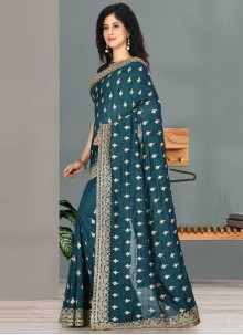 Embroidered Rama Designer Traditional Saree