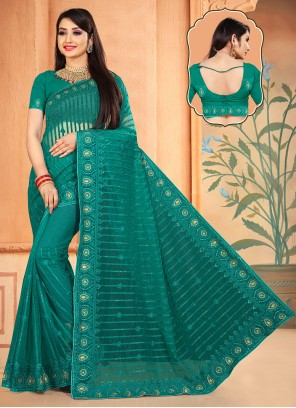 Embroidered Rama Net Classic Designer Saree
