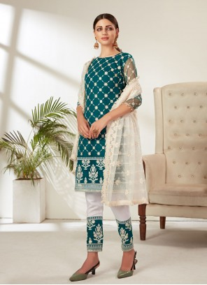 Embroidered Rama Net Pant Style Suit