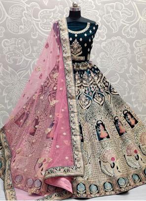 Embroidered Rama Velvet Lehenga Choli