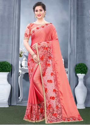 Embroidered Rangoli Designer Traditional Saree in Pink