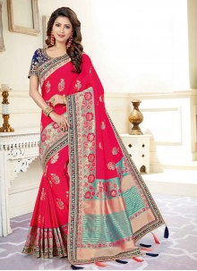 Embroidered Rani Art Silk Traditional Saree
