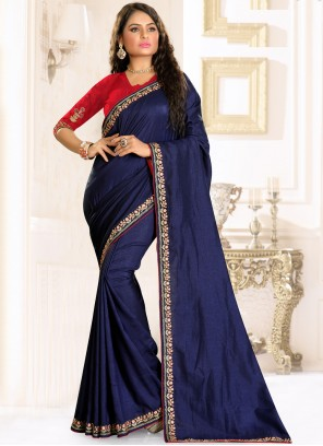 Blue Embroidered Raw Silk Traditional Saree